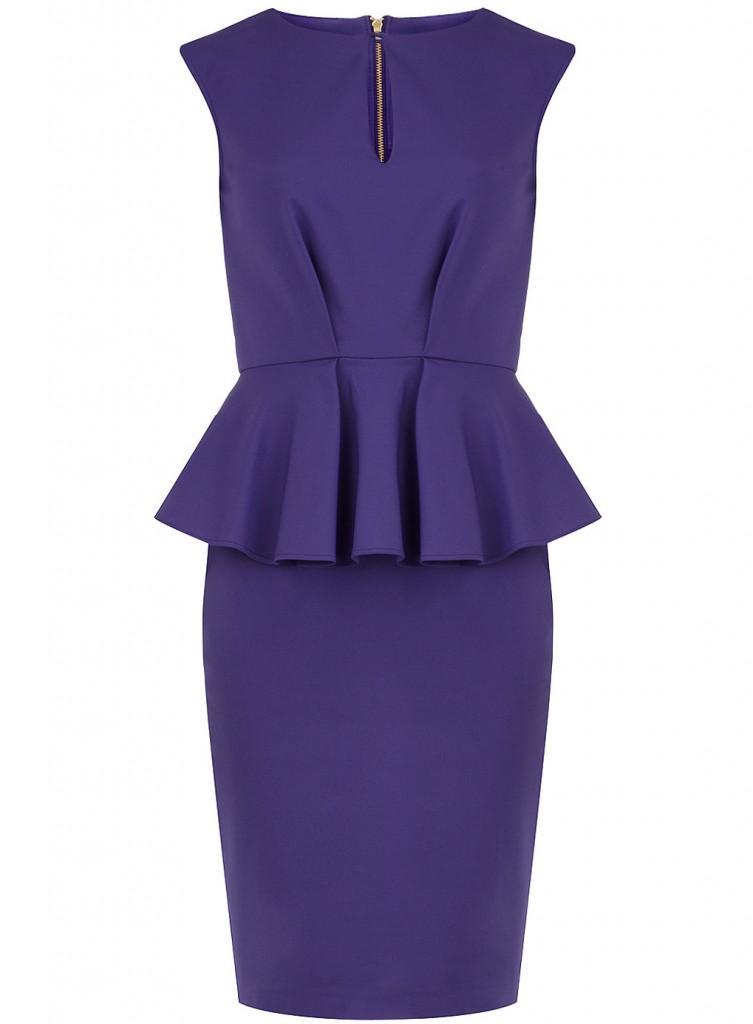 Robe rétro à basques péplum violette