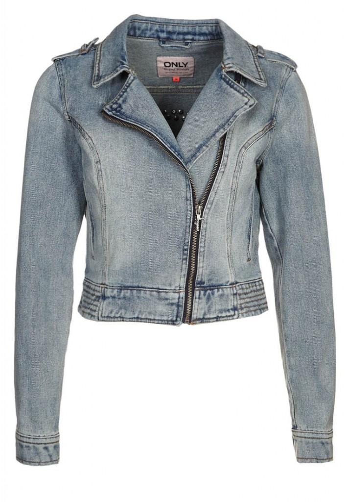 Veste en jean bleu clair zippée Only