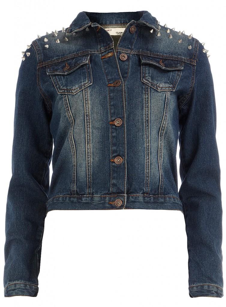 Veste en jean délavé avec clous épaule