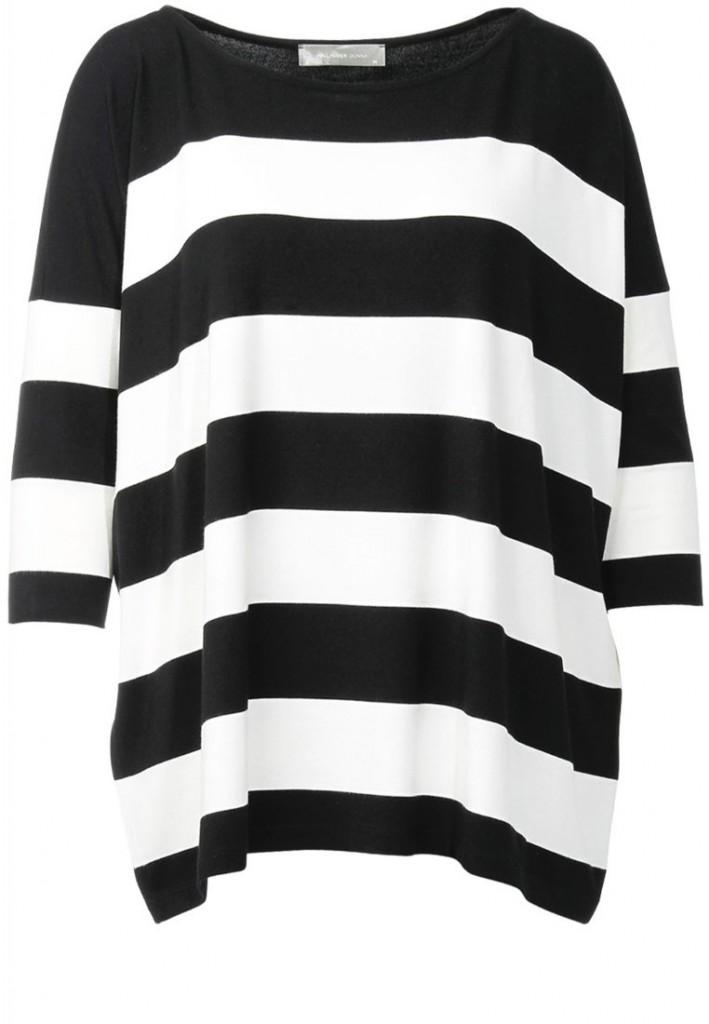 T shirt manche longue rayures noir blanc