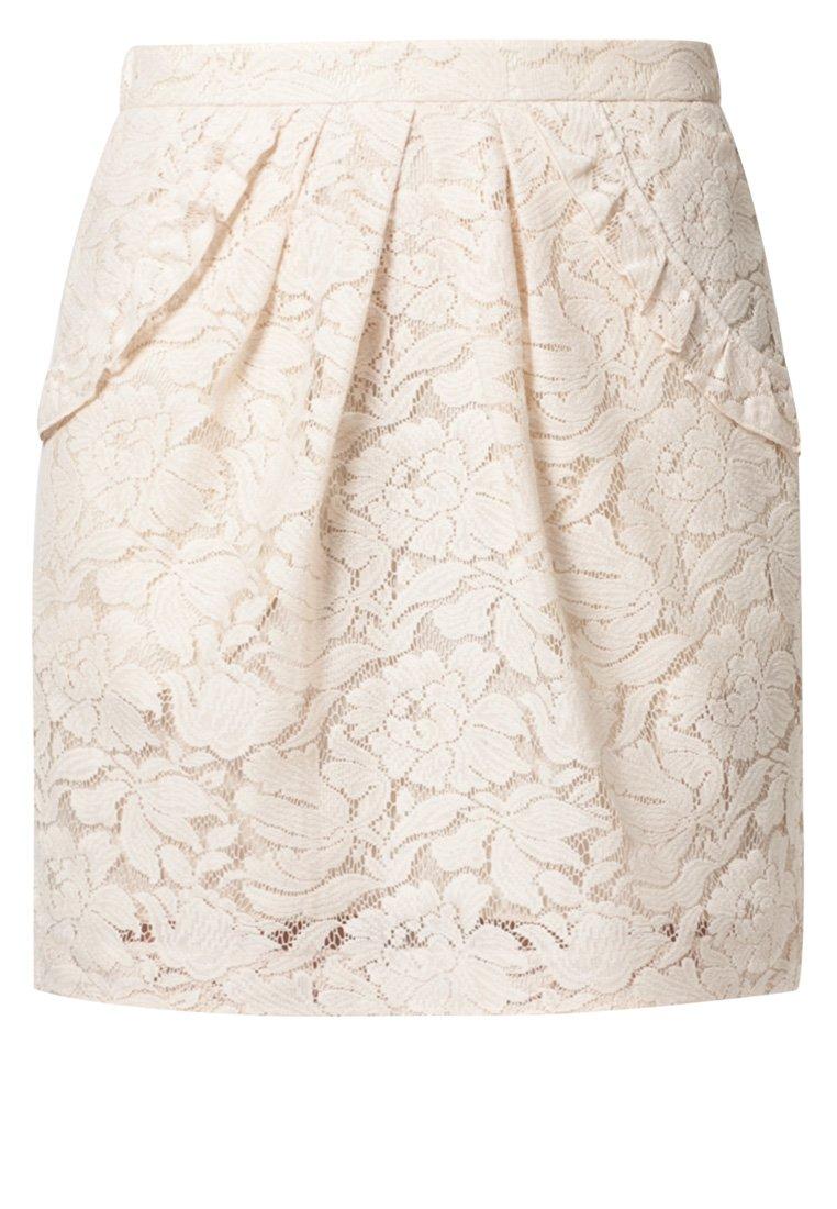 Jupe plissée en dentelle beige Valérie