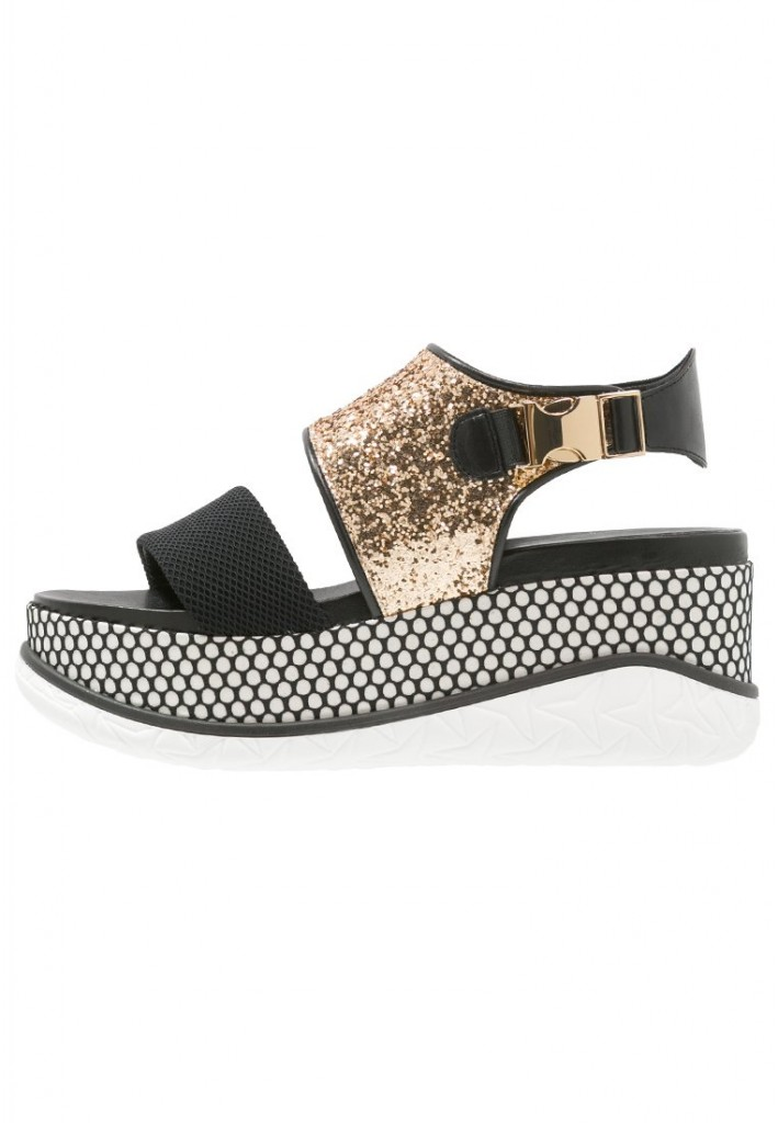 Sandales noires et dorees Jeannot