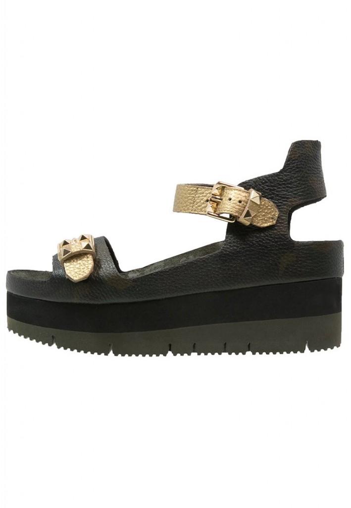 Sandales plateforme Ash noires et dorees