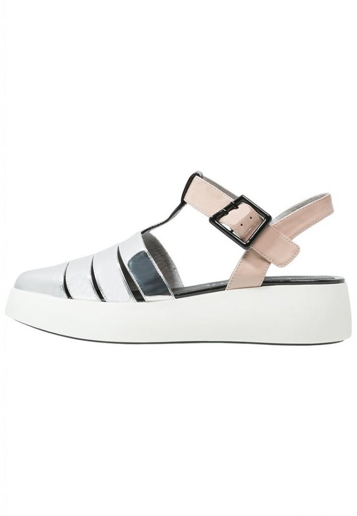 Sandales à plateforme argentées Sixtyseven