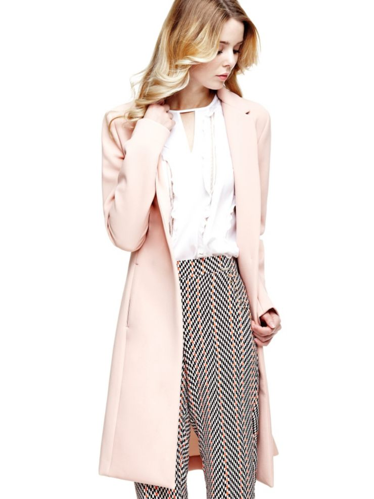 Manteau long rose pastel Guess
