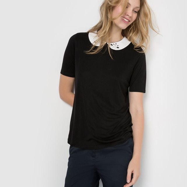 T shirt noir col Claudine blanc