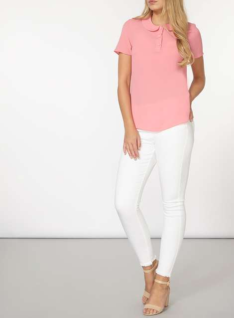 T shirt rose col claudine