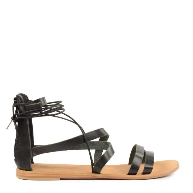 Spartiates sandales gladiateur noires Sacha