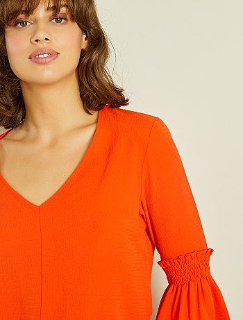 Blouse manches volants orange