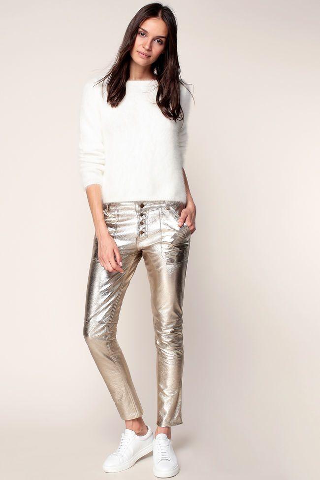 Pantalon cuir dore femme Ba&sh