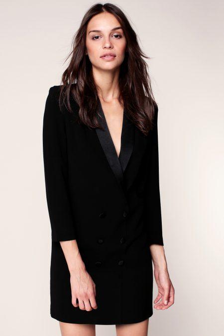 Robe noire col tailleur Ba&sh