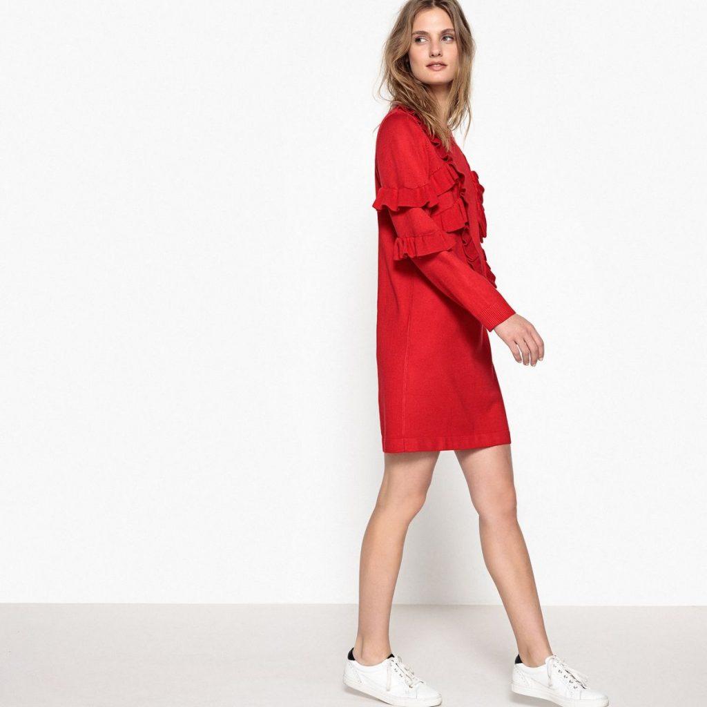 Robe pull volants rouge Suncoo