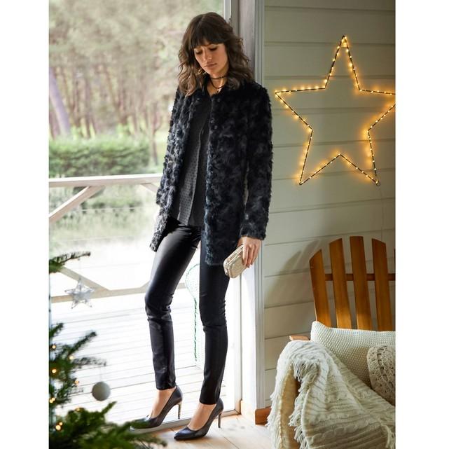 Manteau femme fausse fourrure noire