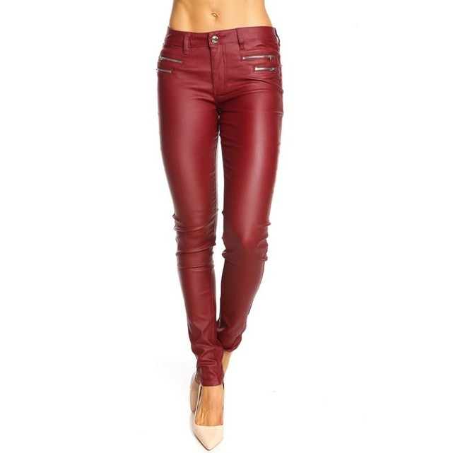 Pantalon slim effet cuir femme rouge Doucel