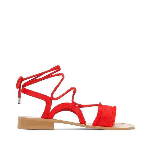 Sandales plates femme Castaluna rouge