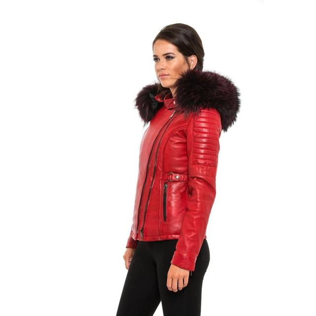 Veste motard femme rouge Tassa Le Cuir Paris