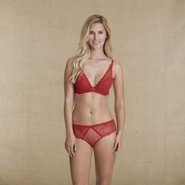 Soutien gorge triangle push up rouge Simone Perele