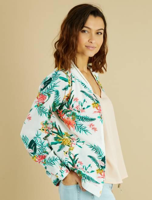 Bomber veste légère avec motif fleurs