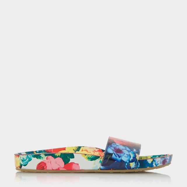 Sandales plates imprimé fleur Dune london