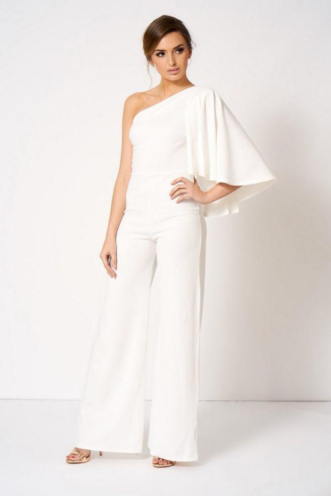 Combinaison pantalon blanche asymetrique