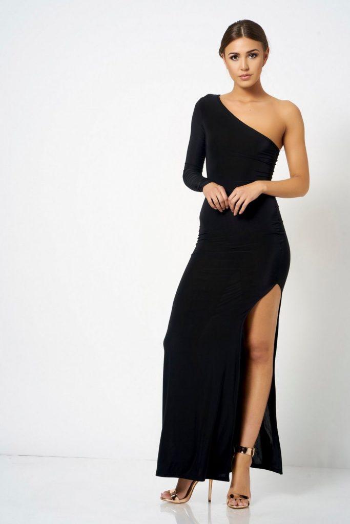 Robe soiree noire asymetrique