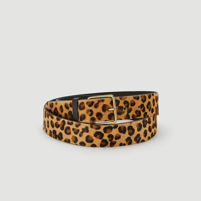 Ceinture cuir femme imprime leopard Monoprix