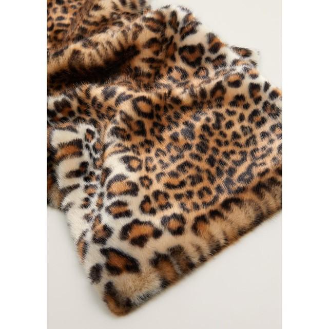 Etole fausse fourrure femme imprime leopard Mango