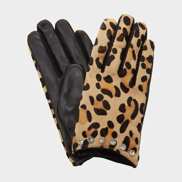 Gants en cuir femme imprime leopard Dune London