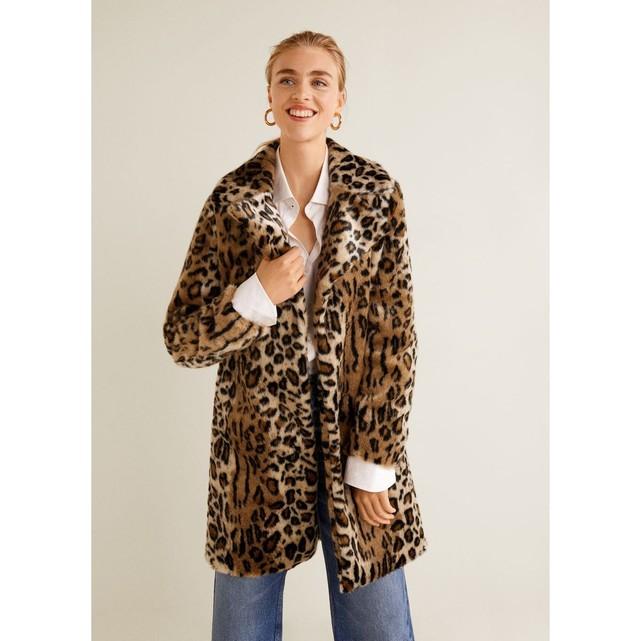 Manteau fausse fourrure leopard Mango
