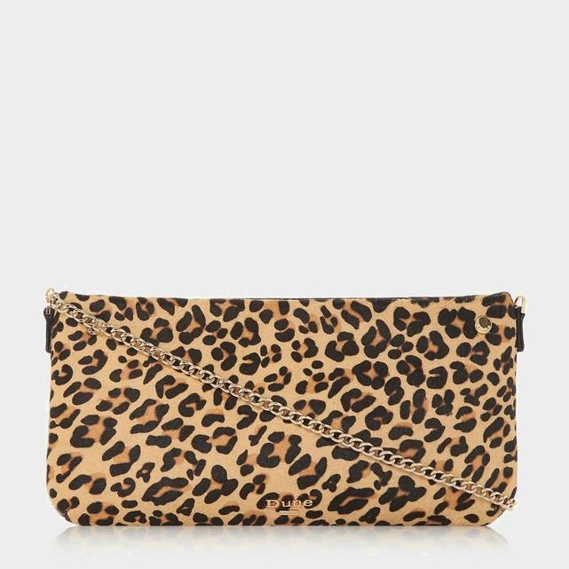Pochette bandouliere chaine dore en cuir leopard Dune London