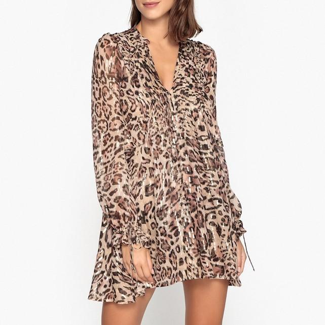 Robe évasée en voile The Kooples avec imprimé léopard