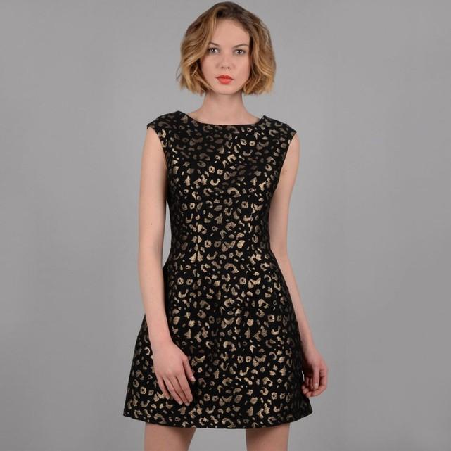 robe jacquard sans manche leopard dore Molly Bracken