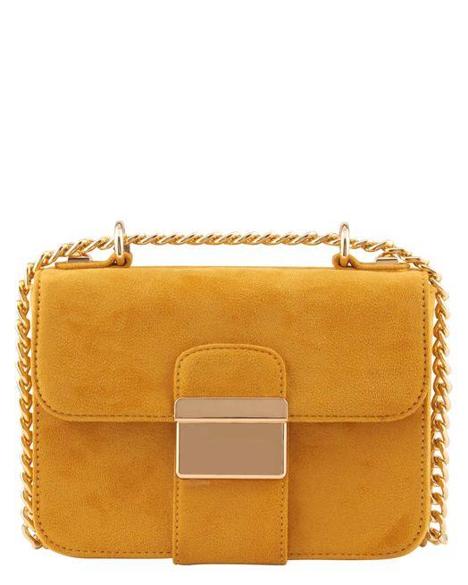 Petit sac a main femme jaune moutarde chaine doree Minelli