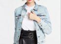 Veste en jean femme clair délavée bleached Guess