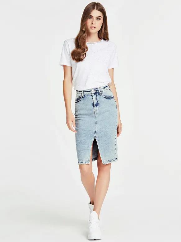 Jupe longue fente jean bleach clair Guess