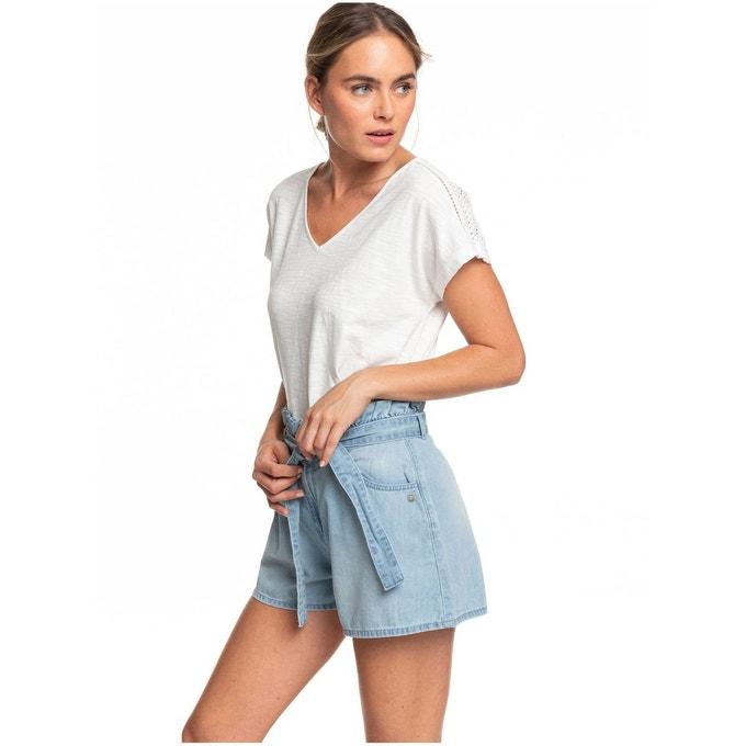 Short en jean taille haute délavé clair Roxy