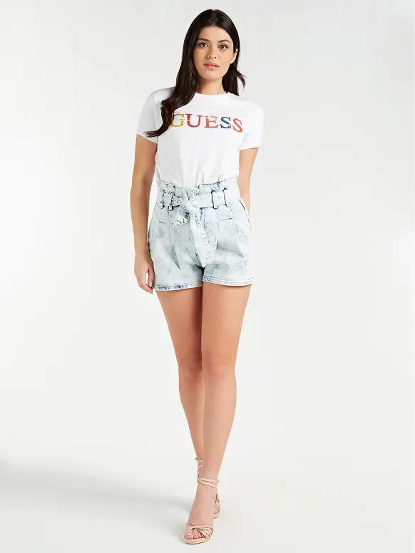 Short ceinture jean taille haute femme bleach Guess