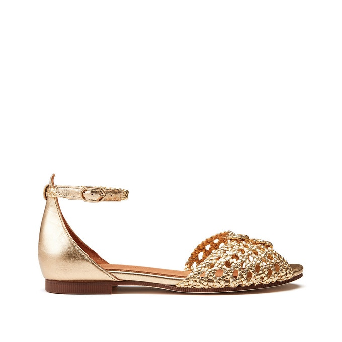 Sandales plates métallisées/dorées en cuir tressé cannage