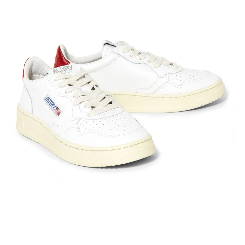 Sneakers femme basses blanches et rouges Autry